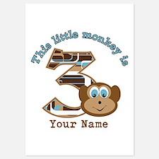 3rd Monkey Birthday Personalized 5x7 Flat Cards