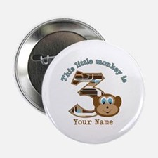 """3rd Monkey Birthday Personalized 2.25"""" Button"""