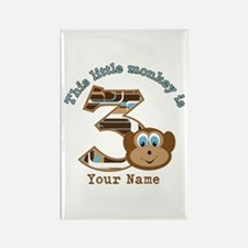 3rd Monkey Birthday Personalized Rectangle Magnet
