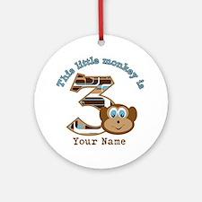 3rd Monkey Birthday Personalized Ornament (Round)