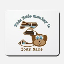 3rd Monkey Birthday Personalized Mousepad
