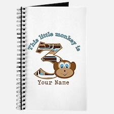 3rd Monkey Birthday Personalized Journal