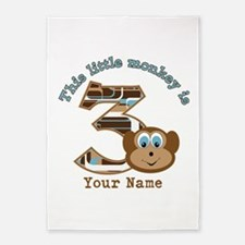 3rd Monkey Birthday Personalized 5'x7'Area Rug