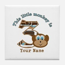3rd Monkey Birthday Personalized Tile Coaster