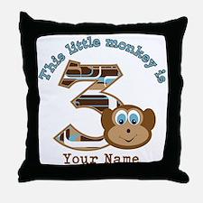 3rd Monkey Birthday Personalized Throw Pillow
