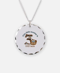 3rd Monkey Birthday Personalized Necklace