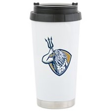 Neptune Poseidon Trident Shield Retro Travel Mug
