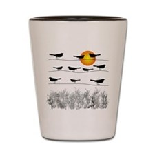 birds on a wire Shot Glass