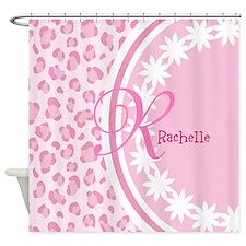 Stylish Pink and White Monogram Shower Curtain