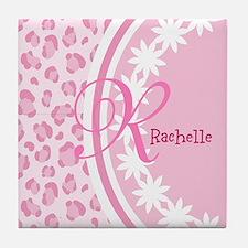 Stylish Pink and White Monogram Tile Coaster