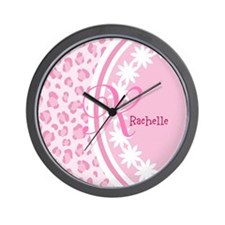 Stylish Pink and White Monogram Wall Clock