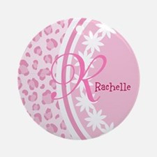 Stylish Pink and White Monogram Ornament (Round)