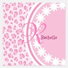 Stylish Pink and White Monogram 5.25 x 5.25 Flat C