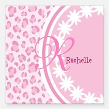 Stylish Pink and White Monogram Square Car Magnet