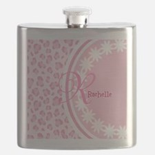 Stylish Pink and White Monogram Flask