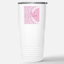 Stylish Pink and White Monogram Travel Mug