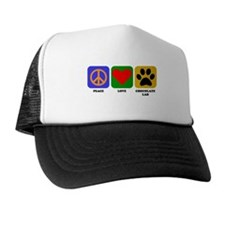 Peace Love Chocolate Lab Trucker Hat