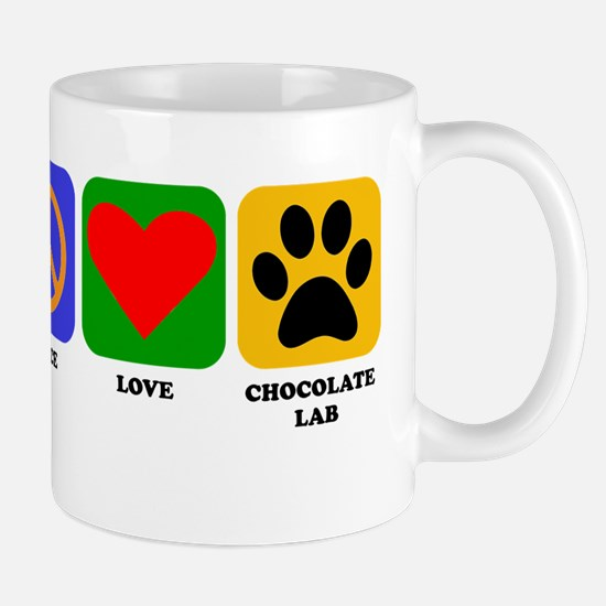 Peace Love Chocolate Lab Mugs