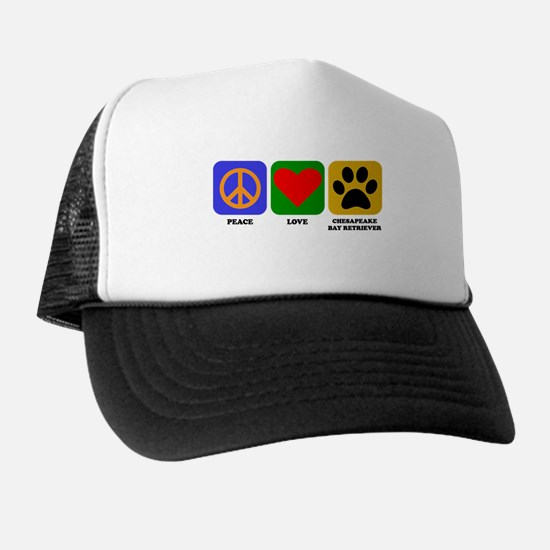 Peace Love Chesapeake Bay Retriever Trucker Hat
