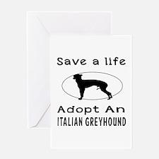 Adopt An Italian Greyhound Dog Greeting Card