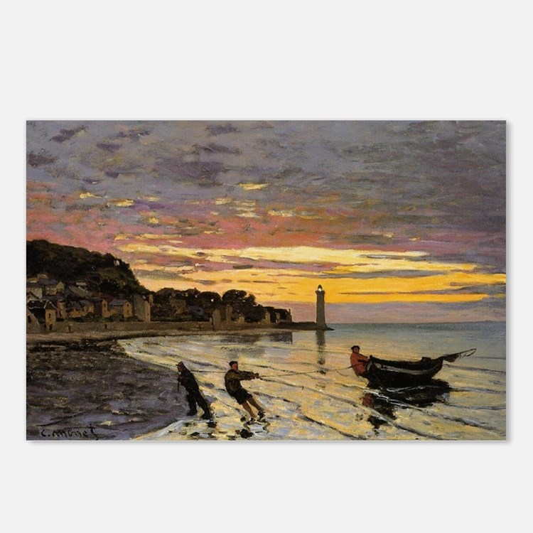 Monet - Hauling a Boat As Postcards (Package of 8)