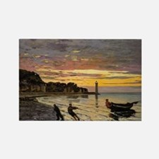 Monet - Hauling a Boat Ashore Hon Rectangle Magnet
