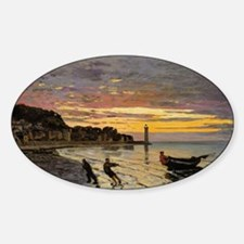 Monet - Hauling a Boat Ashore Honfl Sticker (Oval)