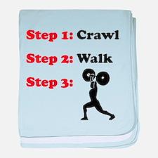 Crawl Walk Weightlifting baby blanket