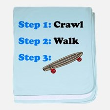 Crawl Walk Skateboarding baby blanket
