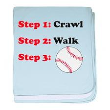 Crawl Walk Baseball baby blanket