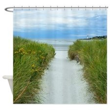 Beach Path To Lighthouse Shower Curtain