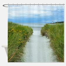 Beach Path To Lighthouse Shower Curtain