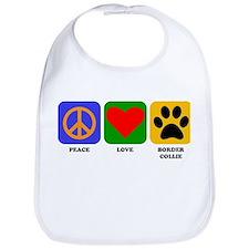Peace Love Border Collie Bib