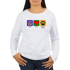 Peace Love Border Collie Long Sleeve T-Shirt