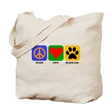 Peace Love Black Lab Tote Bag
