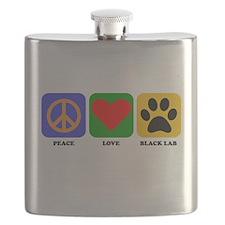 Peace Love Black Lab Flask