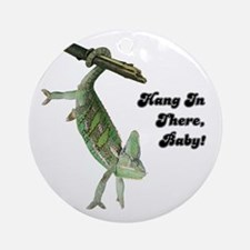 Hang In There Chameleon Ornament (Round)