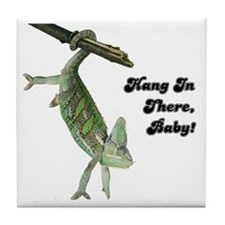 Hang In There Chameleon Tile Coaster