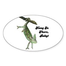 Hang In There Chameleon Oval Sticker