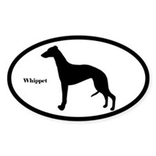 Whippet Silhouette Oval Decal