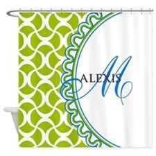 Blue Lime Monogram Shower Curtain