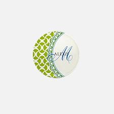 Blue Lime Monogram Mini Button