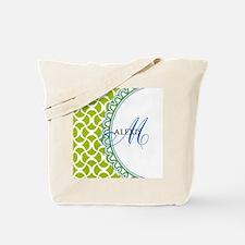 Blue Lime Monogram Tote Bag