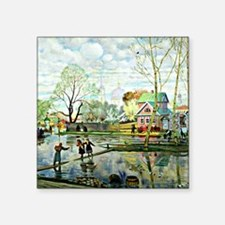 "Boris Kustodiev: Spring Square Sticker 3"" x 3"""