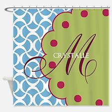 Aqua Raspberry Monogram Shower Curtain
