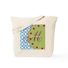 Aqua Raspberry Monogram Tote Bag