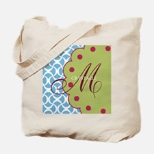 Aqua Raspberry Monogram Tote Bag