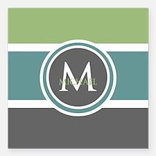 "Elegant Modern Monogram Square Car Magnet 3"" x 3"""