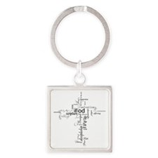 Christian cross word collage Square Keychain