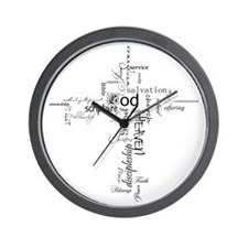 Christian cross word collage Wall Clock